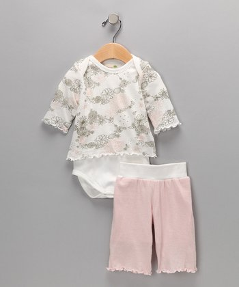Pink Floral Organic Yoga Pants & Bodysuit - Infant