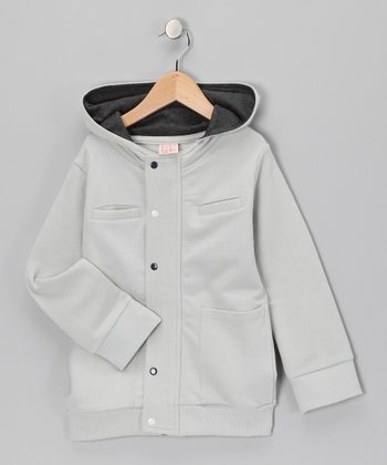 Ice Gray Organic Zip-Up Hoodie - Toddler & Boys