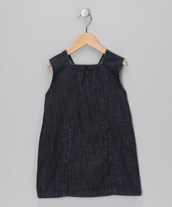 Denim Gathered Dress - Toddler & Girls