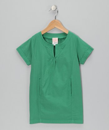 Green Woven Dress - Toddler & Girls