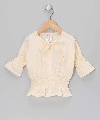 Pale Sand Shirred Top - Toddler & Girls