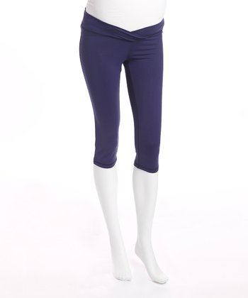 Navy Maternity Capri Pants