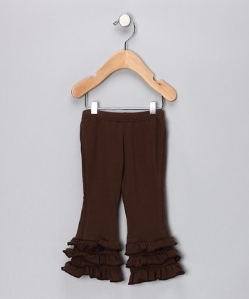 Brown Ruffle Organic Pants - Infant, Toddler & Girls