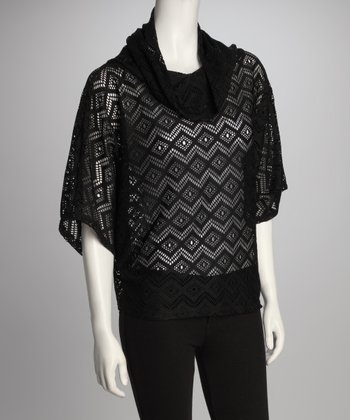 Black Diamond Sheer Cowl-Neck Top