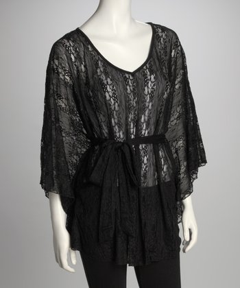 Black Sheer Lace Cape-Sleeve Tunic