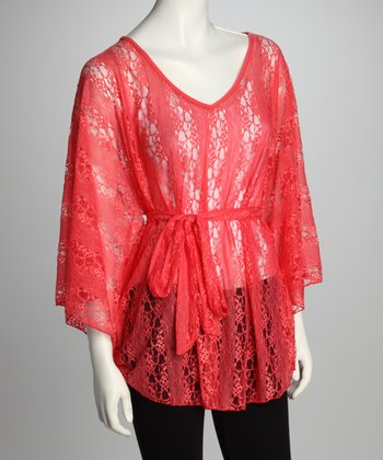 Coral Sheer Dolman Tunic