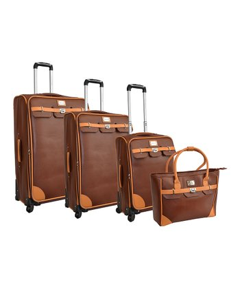 Brown London Bridge Four-Piece Luggage Set