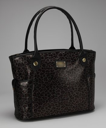 Pewter Metallic Leopard Laptop Tote