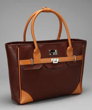 Brown East-West Laptop Tote