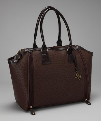 Brown Ostrich Laptop Tote