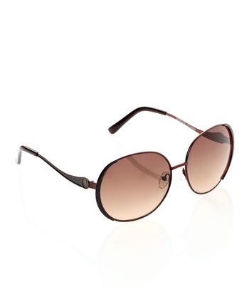 Shiny Brown Round Metal Rim Sunglasses