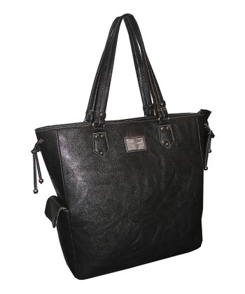 Black Pebble-Grain Laptop Shopper