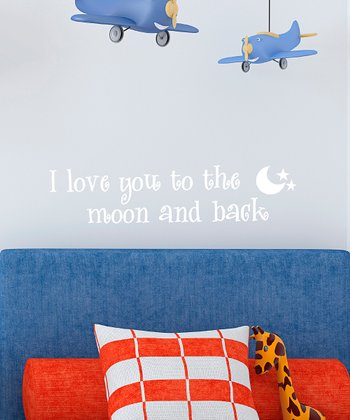 White 'Moon & Back' Wall Decal
