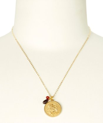 Garnet & Gold January Birth Flower Pendant Necklace