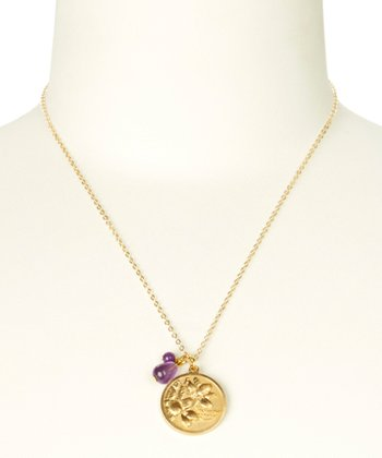 Amethyst & Gold February Birth Flower Pendant Necklace