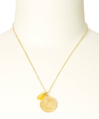 Yellow Topaz & Gold November Birth Flower Pendant Necklace