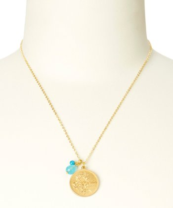 Turquoise & Gold December Birth Flower Pendant Necklace