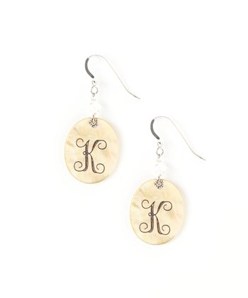 Sterling Silver & Gold Shell Initial Drop Earrings