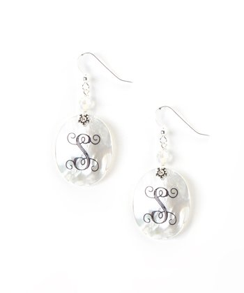 Sterling Silver & White Shell Initial Drop Earrings