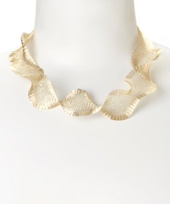 Gold Metal Ribbon Necklace