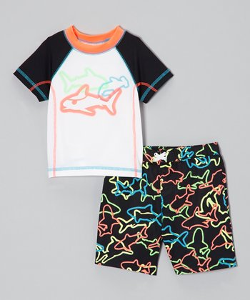 Black Neon Sharrrk Attack Rashguard & Swim Trunks - Toddler