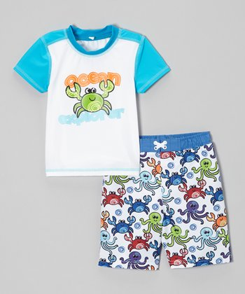 Blue 'Ocean Explorer' Rashguard & Swim Trunks - Infant & Toddler