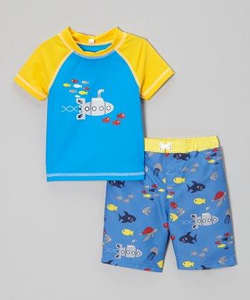 Baby Buns Palace Blue Submarine Rashguard & Swim Trunks - Infant & Toddler