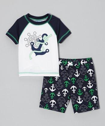 Baby Buns Peacoat Anchor Rashguard & Swim Trunks - Infant & Toddler