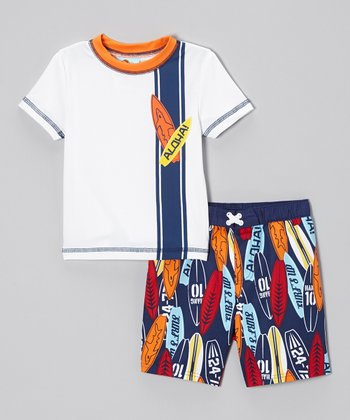 Blue Wave Rider Rashguard & Swim Trunks - Toddler