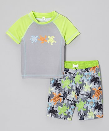 Baby Buns Lime Turtle Rashguard & Swim Trunks - Infant & Toddler