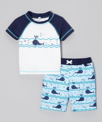 Vivia Blue Lazy Whales Rashguard & Swim Trunks - Toddler