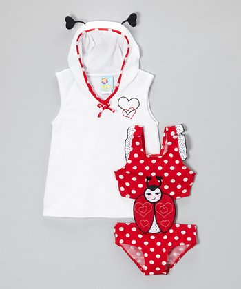 Red Prettiest Ladybug Monokini & Cover-Up - Infant