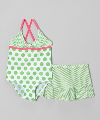 Green Polka Dot One-Piece & Swim Skirt - Infant, Toddler & Girls