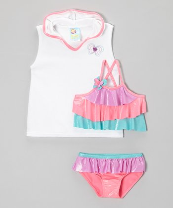 Pink Butterfly Rainbow Tankini & Cover-Up - Girls