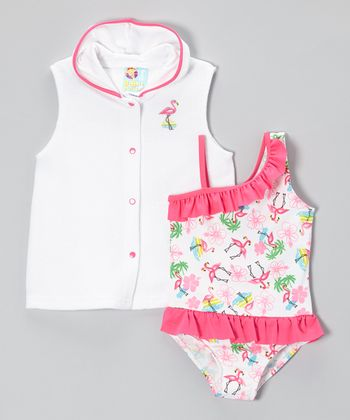 Pink Flamingo One-Piece & Cover-Up - Infant, Toddler & Girls
