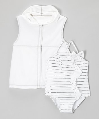 White Stripe One-Piece & Cover-Up - Infant, Toddler & Girls