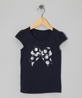 Navy Bow Cap-Sleeve Tee - Toddler & Girls