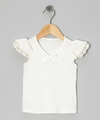 Cream Lace Angel-Sleeve Tee - Toddler & Girls