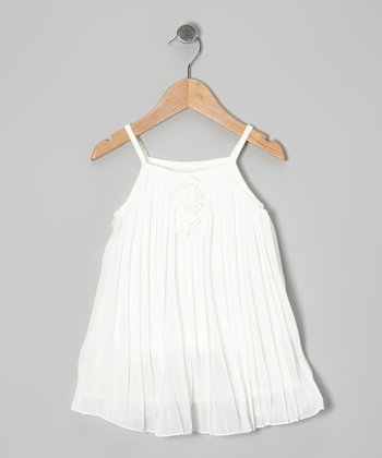 Cream Pleat Swing Dress - Toddler & Girls