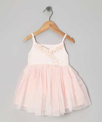 Pink Rose Surplice Dress - Toddler & Girls