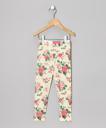 Cream Rose Leggings - Infant, Toddler & Girls