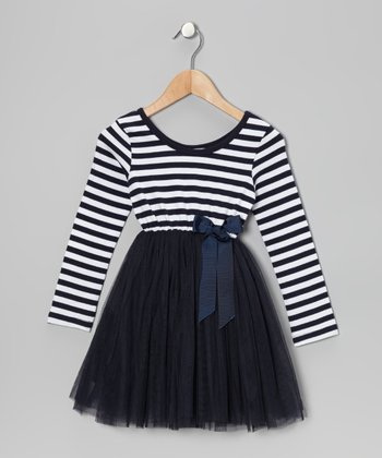 Navy Stripe Tulle A-Line Dress - Toddler & Girls