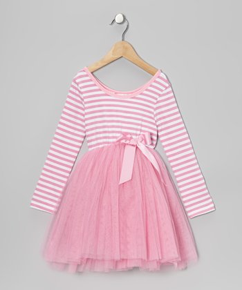 Pale Pink StripeTulle A-Line Dress - Toddler & Girls