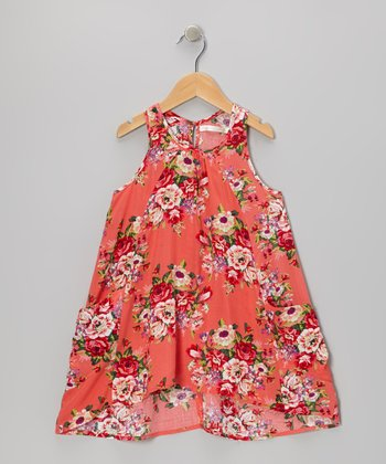 Orange Floral Hi-Low Dress - Toddler & Girls