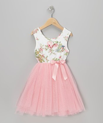 Pink Floral Tulle A-Line Dress - Toddler