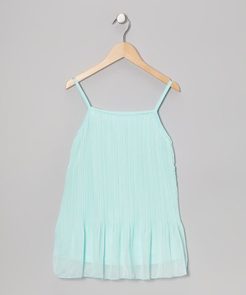 Aqua Pleated Drop-Waist Dress - Toddler & Girls