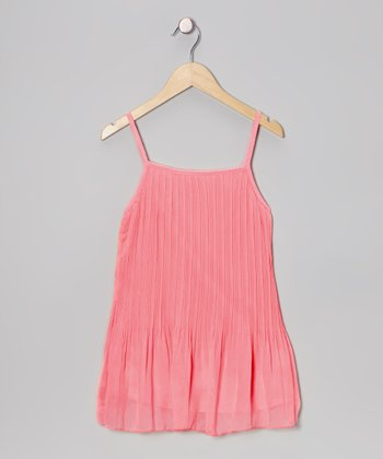 Coral Pleated Dress - Toddler & Girls