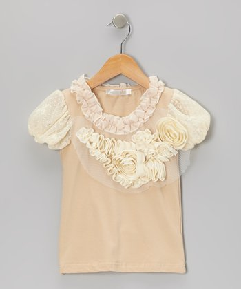 Beige Flower Puff-Sleeve Top - Toddler & Girls