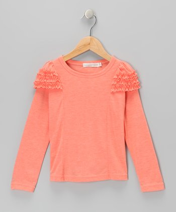 Coral Ruffle Long-Sleeve Tee - Toddler & Girls