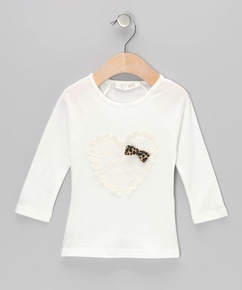 Cream Heart & Bow Top - Infant & Toddler